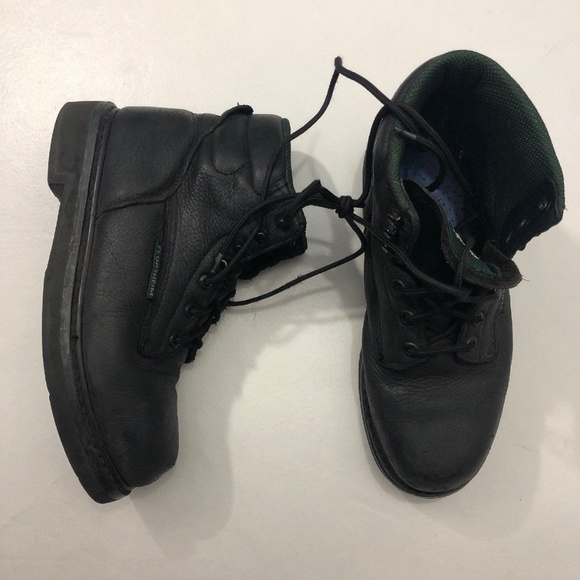 145d77d9722 Florsheim Work Boots Black Leather Steel Toe Sz 8